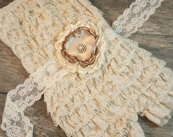 Girls Cream Colored Romper // Strapless Romper // Girls Birthday Outfit // Photoshoot // Ruffle Romper // Wheat Color