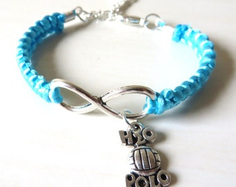 Love Water Polo Athletic Charm Infinity Water Polo Charm You Choose Your Cord Color(s) Optional Hand Stamped Number Charm