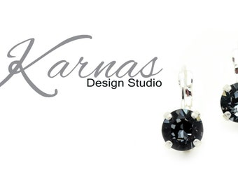 CRYSTAL SILVER NIGHT 8mm Crystal Chaton Drop Leverback Earrings Swarovski Elements *Pick Your Finish *Karnas Design Studio *Free Shipping*