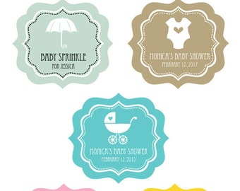 Personalized Baby Shower Labels Favors-Personalized Baby Shower Favor Tag-Personalized Label Sticker-Goody Bag Labels-set of 16| (EB3020MDB)