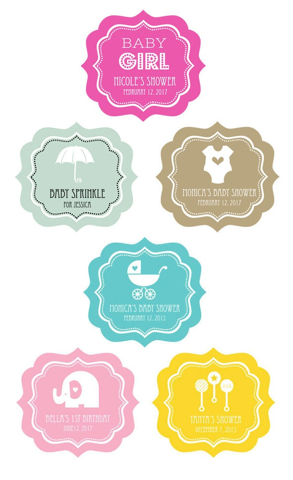 Baby Shower Favors Sticker Labels ~ Personalized baby shower labels favors
