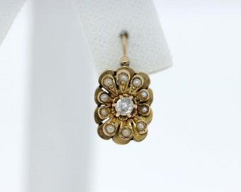 Victorian Pearl and Diamond Lever-back Gold Earrings