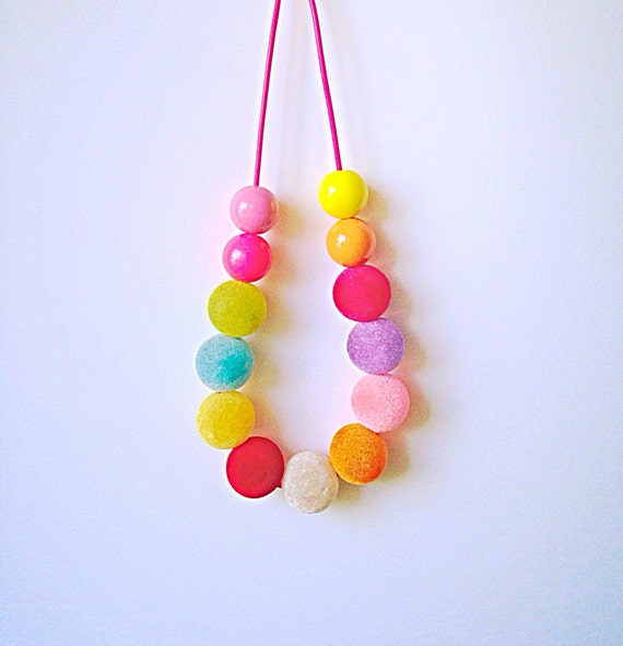 sale fuzzy gumball necklace chunky bead necklace pink