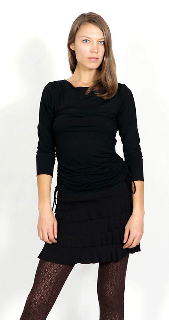 Sacred Geometry Long Sleeve Shirt in Black with Ruched Side Ties and Sheer Back Wholesale