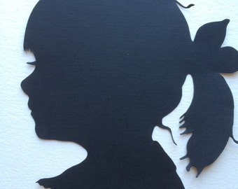 "Two Hand Cut Custom Silhouette Portraits : each 5"" × 7"" Silhouette Cameo"