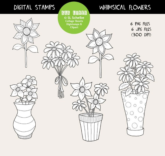Whimsical Flowers Digital Stamp Set Spring Garden Digistamps Instant Download Flower Coloring By SLS Lines