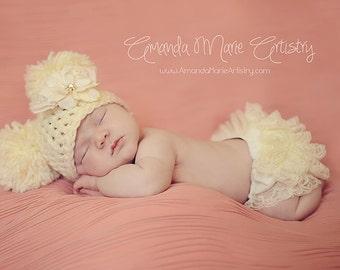Baby Hat  Pom Pom Hat Newborn Photo Prop - Crochet Hat - Photography Props - U Choose Size Color -