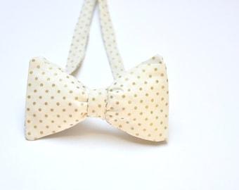 Groom Gold Bow Tie. Ivory Bow Tie. Tuxedo Bow Tie. Polka Dot Bow Tie