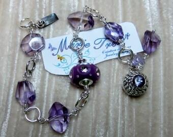 Amethyst and murano CZ bracelet