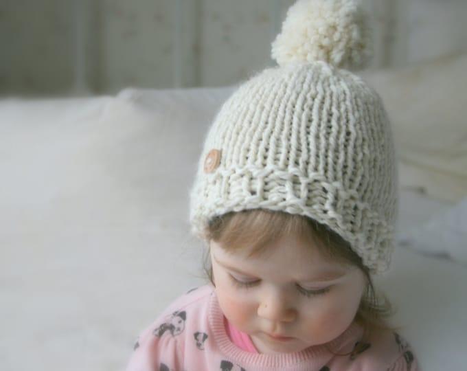 KNITTING PATTERN basic beanie pompom hat Harper (baby, toddler, child, woman sizes)