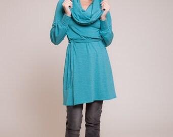 Womens tunic - long sleeves tunic shirt, cowl neck tunic, turquoise tunic top, fall fashion, winter tunic  sizes : XS / S / M / L / Xl