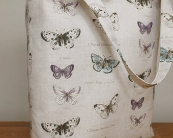 Fabric tote / shopping bag handmade with butterfly print fabric.
