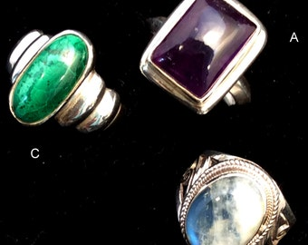 Size 7 Sterling Silver Ring. Green Malachite, Purple Amethyst or Filigree Rainbow Moonstone..free US ship
