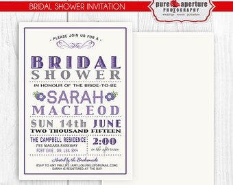 5x7 Lavendar Purple Bridal Shower Invitation Postcard - PSD Printable Template