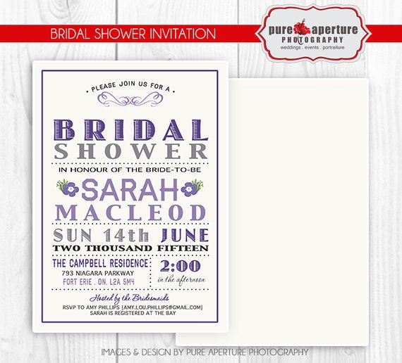 5x7 lavendar purple bridal shower invitation postcard psd for 5x7 postcard mailing template