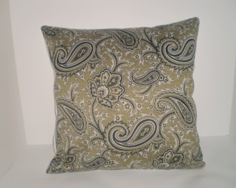 Decorative Handmade 16x16 Pillow Cover in a Paisley Print.
