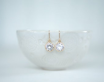 Clear Crystal Gem and Gold Earrings | Bridesmaid Earrings | Wedding Jewelry