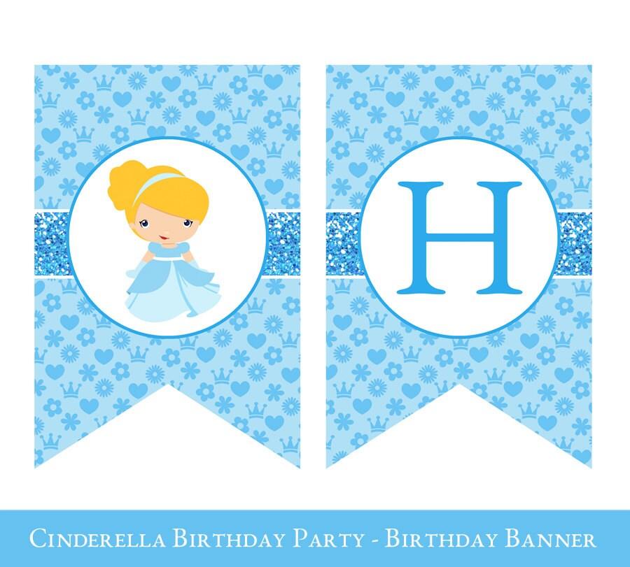 Cinderella Birthday Banner Cinderella Banner Cinderella