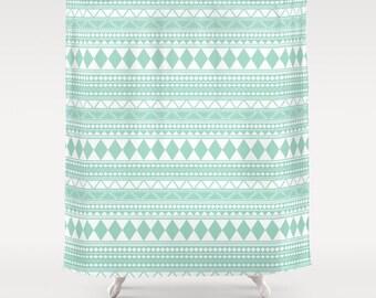 """Mint Tribal Shower Curtain, 70""""x70"""", 70""""x90"""""""