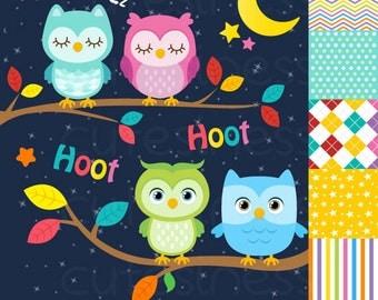 Owl Digital Clipart , Owl clip art, Owl Clipart, Sleeping Owl Clipart