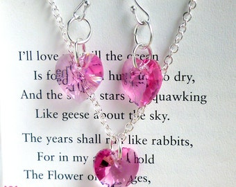 Pink Swarovski Necklace, FREE Matching Earrings with purchase, Valentine's Day, Confirmation Gift, Gifts for Her