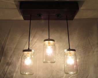 3 Pendant Mason Jar Chandelier, Kitchen Lighting, Mason Jar Light Fixture, Chandelier, Mason Jar Light, Pendant Light, Dining Room Lighting