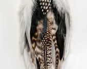 Primal Elegance Winged Shamaness Black and White Dangle Feather Earrings