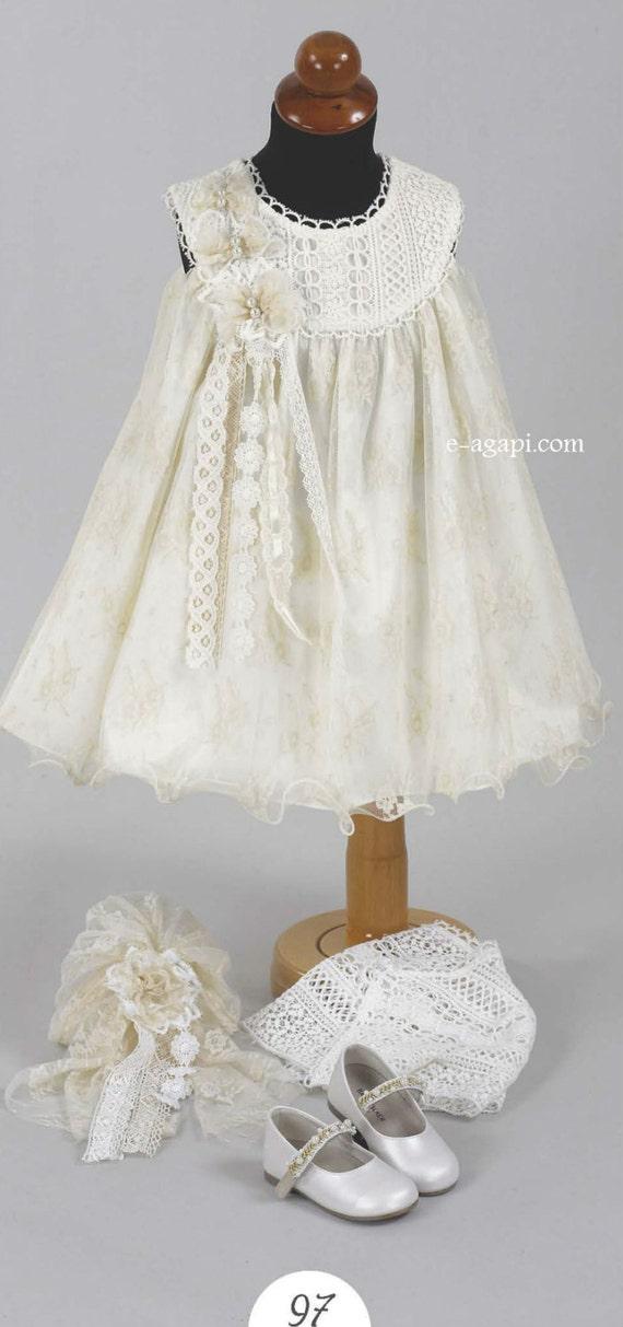 3 pc Baby girl christening dress SET Girl ivory vintage Dress