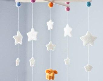 Baby Mobile - Needle Felted Elephant Mobile, Nursery Decor, Baby Shower Gift