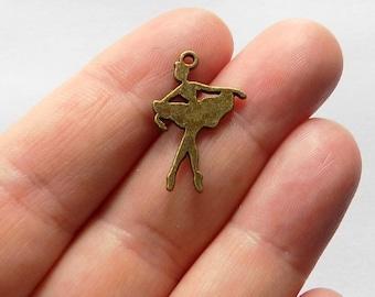 10 Ballerina Charms - Antiqued Bronze - #B0014