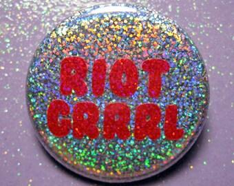 Riot Grrrl pin, feminist pin, feminist gift, holographic glitter