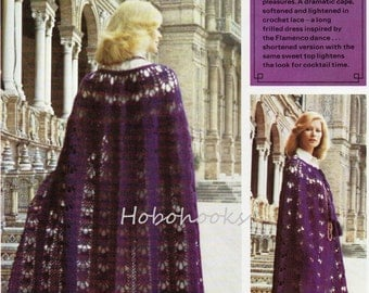 CROCHET ladies long length cape  - 32 to 42 inch bust - DK - Crochet Pattern - PDF instant download