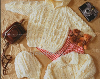 Aran Knitting Pattern With Hood : Baby / childs / childrens cable jumper / sweater & by ...
