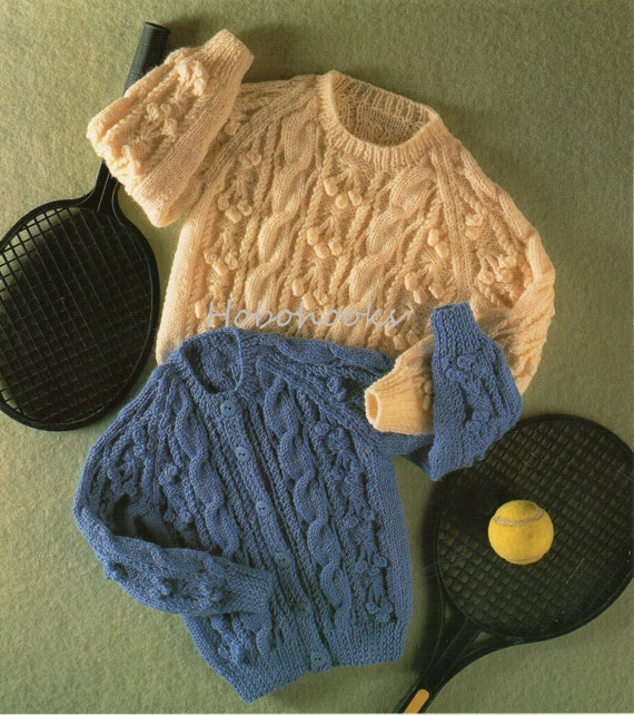 Baby toddler childrens aran cardigan knitting pattern aran