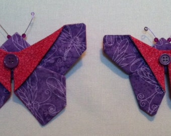 Butterfly Fabric Origami Magnet - Purple and Pink - set of two