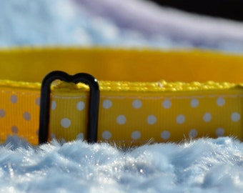 Yellow with White Swiss Dots on Yellow Dog Collar