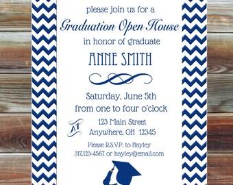 Chevron Graduation Party Open House Invite - Custom Graduation Party Invitation - Chevron Grad Party Invite - College High School Grad Party