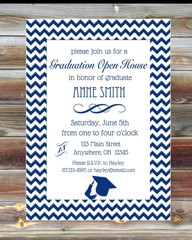 Chevron graduation party open house invite custom graduation for Graduation open house invitation