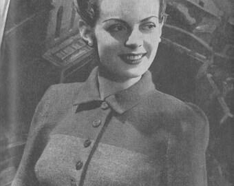 Vintage 1944 Knitting Pattern Ladies Two-tone Cardigan - digital file