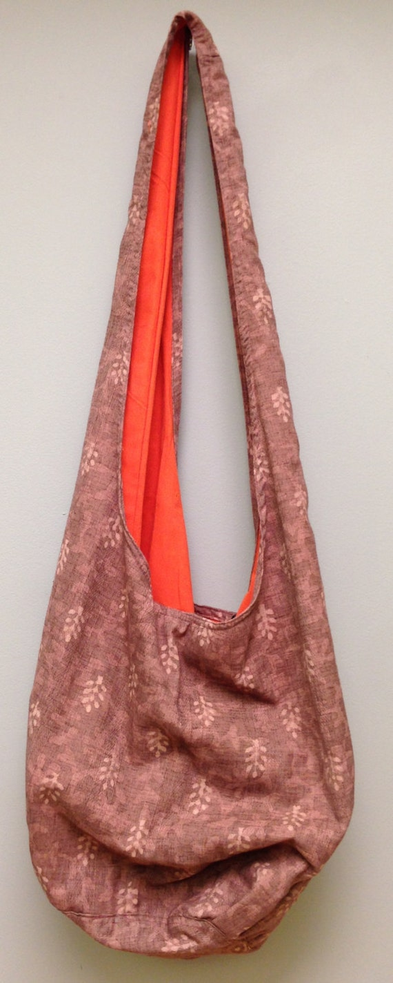 India Bag Mauve Shoulder Bag Handmade Cotton Hand Sewn Colorful Hand Stamped Fabric Gift for Her India Fun Shoulder Bag