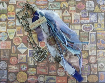 """Industrial Chic Blue Ribbons """"Life Is When"""" Necklace """"U Let It Be"""" Pendant,Bead,Pewter Gears Clock,Decorative 1.5"""" Toggle Clasp on 22"""" Chain"""