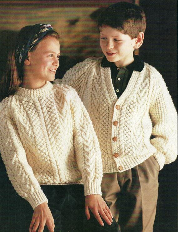 baby / childrens aran sweater & cardigan knitting pattern