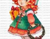 Digital stamp - Merry Christmas. Christmas digital stamp.winter digital stamp. Vintage digital stamp.Christmas wreath. LiaStampz