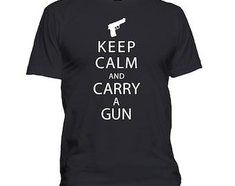 Gun t shirt, Keep Calm And Carry A Gun T-shirt, Funny t shirt, Humor, Right to bear arms, Gun control, Self defense, Screenprinted  002