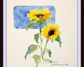 Watercolor Sun Flower
