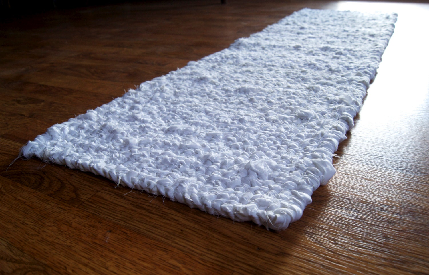 Twined Rag Rug Narrow Runner Hand Woven White Cotton Washable