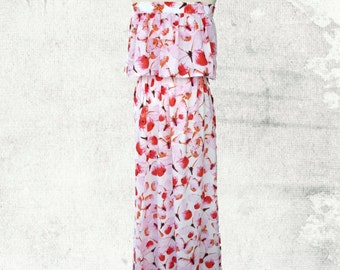 PDF Sewing Pattern Woman's Sophia Strapless Maxi Dress - D1404 Sizes 2 - 12