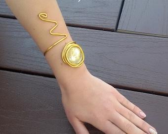 Gold statement bracelet, wrapped bracelet, stone bracelet, gift for her, open adjustable bracelet, bridesmaid bracelet, fashion bracelet.