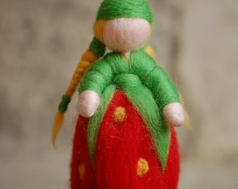 Strawberry Waldorf-inspired fairytale wool Fràgolina Underwood
