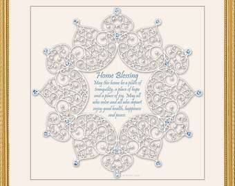 Jeweled Lace Home Blessing Framed Art by Mickie Caspi